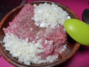 Carne picada cebolla sal y pimienta